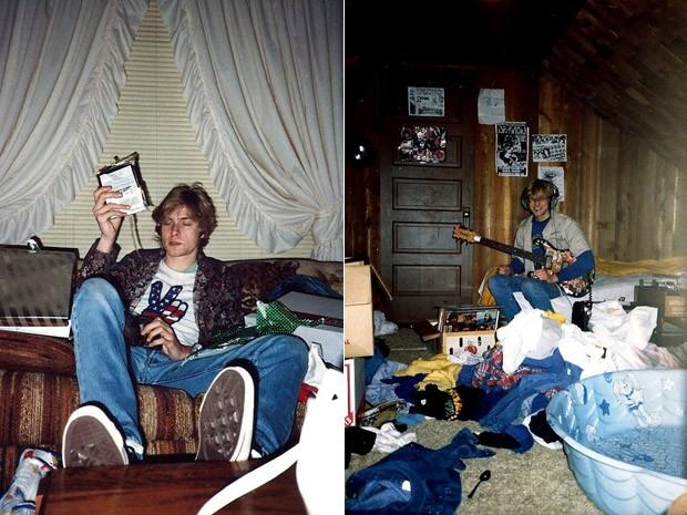 Kurt Cobain na casa onde a família morou em Aberdeen, Washington, EUA (Foto: AP Photo/Courtesy Kim Cobain)
