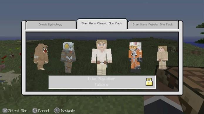 Minecraft tem uma grande variedade de personagens populares oferecidos em pacotes de skin pagos (Foto: Reprodução/Rafael Monteiro)