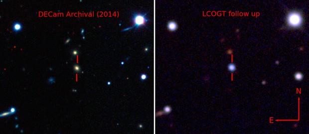 Imagem mostra galáxia antes e durante a explosão ASASSN-15lh, a supernova mais forte já registrada (Foto: DES/ASAS-SN)