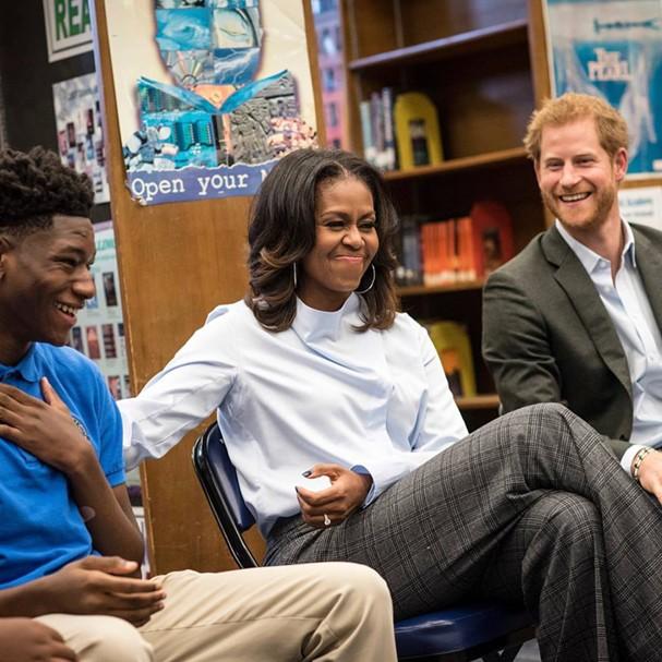 Príncipe Harry e Michelle Obama (Foto: Reprodução)