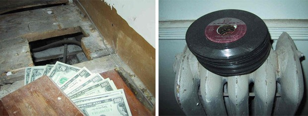 Cofre escondido em casa centerária continha 'tesouros' como dinheiro e discos raros (Foto: Reprodução)