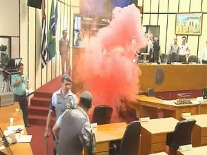 Manifestantes jogaram bomba no plenário (Foto: Reprodução/EPTV)