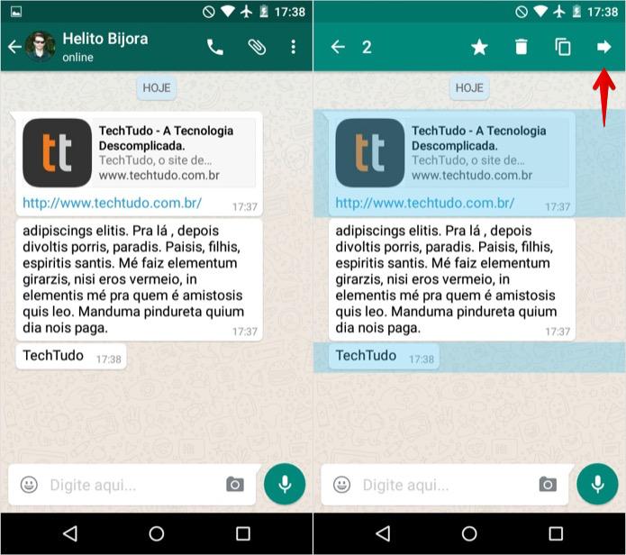 Encaminhando mensagens no WhatsApp para Android (Foto: Reprodução/Helito Bijora)