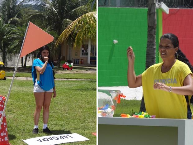 Geisiane, mãe da Lizz, e Patrícia, mãe da Mel, estão no Chiqueirinho, após a prova Circuito Maluco (Foto: Mais Você / TV Globo)