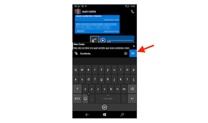 Respondendo uma mensagem antiga no WhatsApp para Windows Phone (Foto: Reprodução/Marvin Costa)