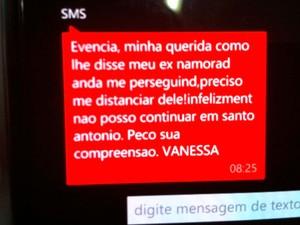 Mensagem telefônica que a família da advogada disse que vai apresentar ao Ministério Público (Foto: Anderson Barbosa/G1)