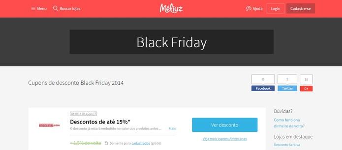 Méliuz também participa com descontos especiais na Black Friday (Foto: Reprodução/Méliuz)