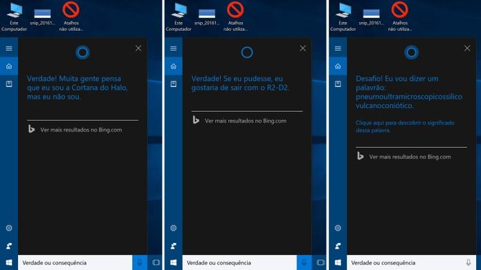 Cortana agora sabe brincar de verdade ou consequência no Windows 10 (Foto: Reprodução/Elson de Souza)
