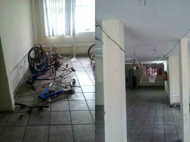 Imagens mostram bicicletas jogadas e fiação à mostra, em Vitória (Foto: Reprodução/TV Gazeta)