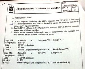 Documento de cumprimento de perda de mando de campo do Remo (Foto: Reprodução/FPF)