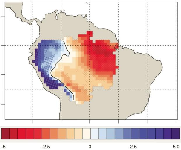 Alterações médias de precipitação (em milímetros por dia por século) previstas para a AmaZônia até 2100 (Foto: Duffy et al./PNAS)