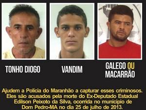 Galego (à direita) era suspeito de participar do assassinato do ex-deputado Edilson Peixoto (Foto: Divulgação/Disque-Denúncia)