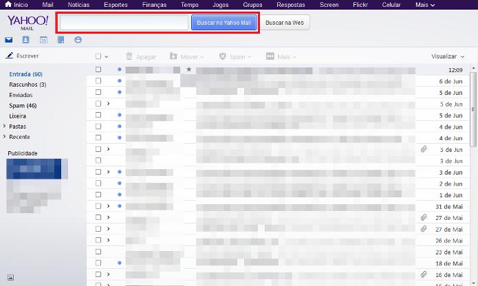 Barra de pesquisa do Yahoo (Foto: Reprodução/Lívia Dâmaso)