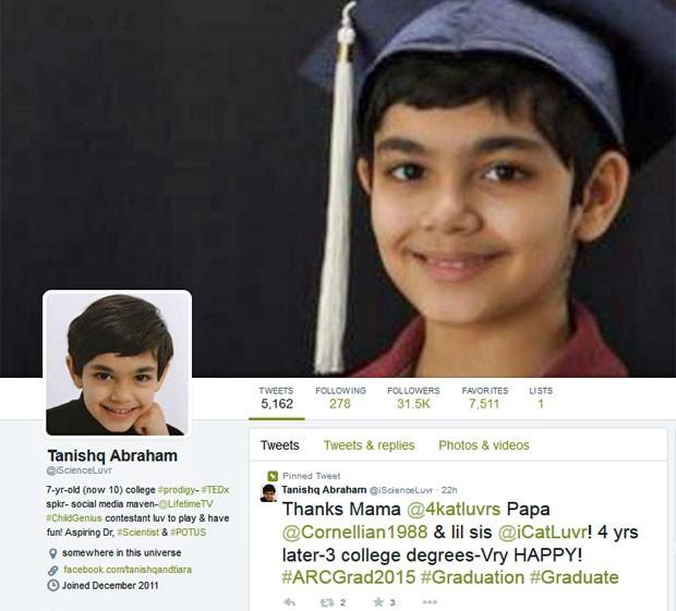 Aos 11 anos, Tanishq Abraham, dos EUA, conquistou o diploma do ensino superior (Foto: Reprodução/Twitter/iscienceluvr)