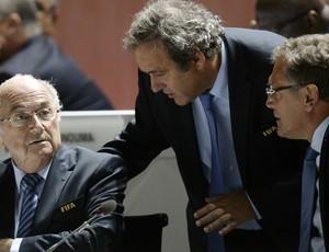Joseph Blatter, Michel Platini e Jerome Valcke Congresso na Fifa - AP