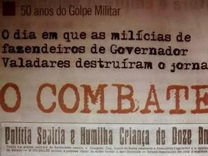 Capa do jornal 'Figueira' onde o jornalista Tim Filho escreveu recentemente sobre o Golpe de 64. (Foto: Diego Souza/G1)