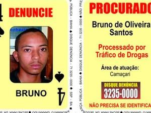 Bruno de Oliveira Santos, o 'Quatro de Espadas' do Baralho do Crime é suspeito de matar jovens em Camaçari (Foto: Divulgação/SSP)