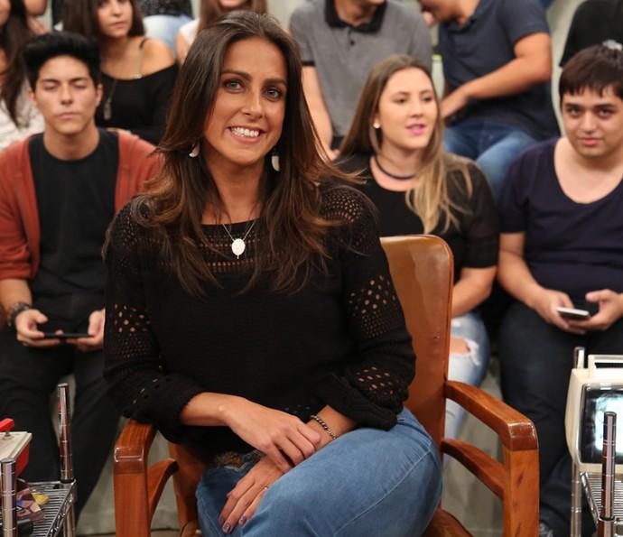 Carol Barcellos participa da gravação do Altas Horas (Foto: Carol Caminha/Gshow)