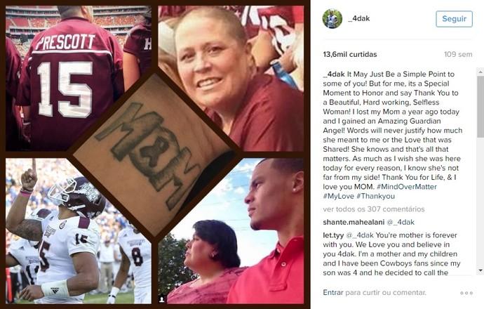 Peggy Prescott, mãe de Dak Prescott, morreu de câncer em 2013 (Foto: Reprodução/Instagram)