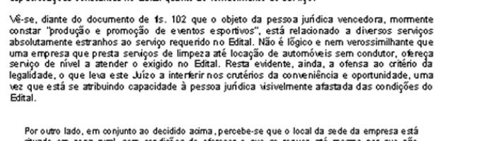 Decisão do Tribunal de Justiça do Rio de Janeiro sobre a licitação da alimentação dos Jogos Escolares 2014 (Foto: Reprodução / TJ-RJ)