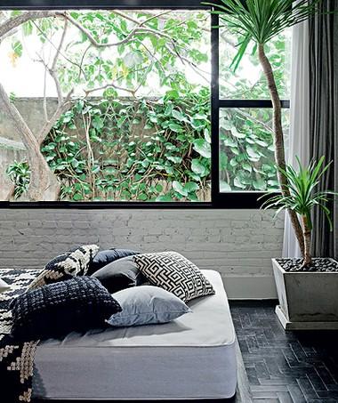 Além de iluminar todo o ambiente, as enormes janelas da sala trazem o verde para dentro do apartamento. Projeto do arquiteto Renato Mendonça e da paisagista Claudia Muñoz (Foto: Lufe Gomes / Casa e Jardim)