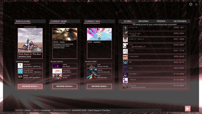 Menus de Audiosurf 2 são um dos pontos fracos do game (Foto: Divulgação)