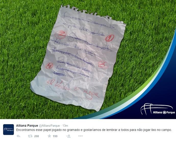 Perfil Twitter Arena São Paulo (Foto: Reprodução)