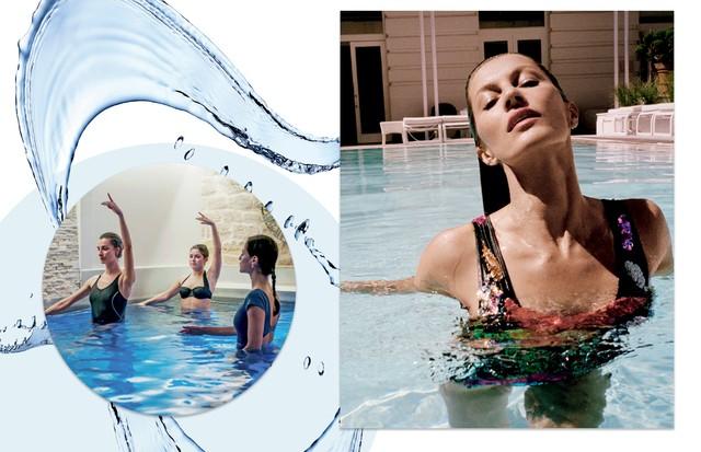 Plié na água (Foto: Bob Wolfenson/Arquivo Glamour, Nuno Muñoz/Arquivo Vogue e Divulgação)