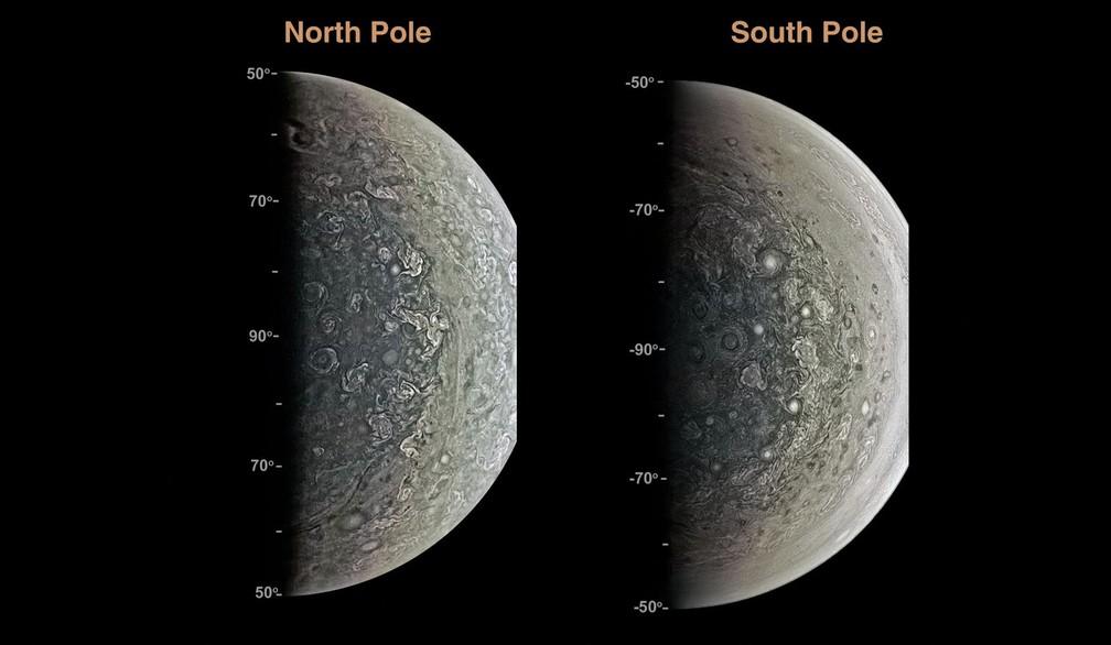 Estruturas de forma oval indicam existência de ciclones nos polos de Júpiter (Foto:  J.E.P. Connerney et al., Science (2017))
