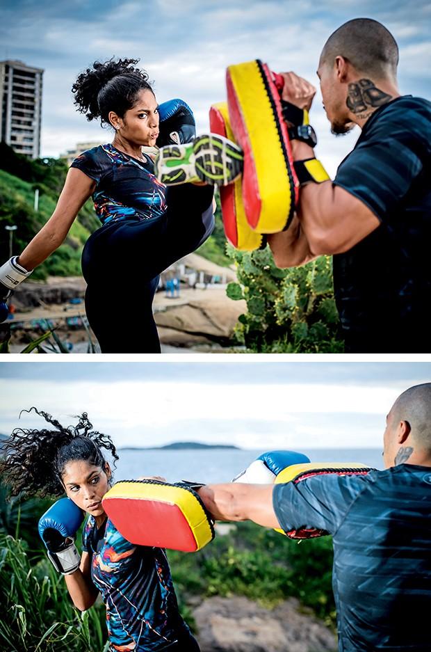 O chute lateral aumenta ainda  mais o gasto calórico. Acima, golpes de boxe: perfeitos para  braços, costas e ombros  (Foto:  )