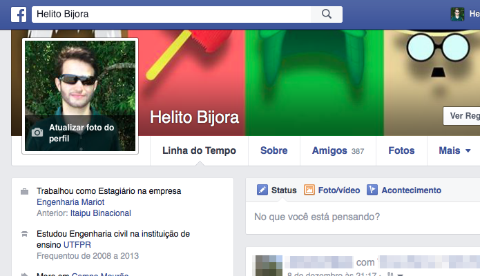 Clique sobre a sua foto de perfil para ampliá-la (Foto: Reprodução/Helito Bijora)