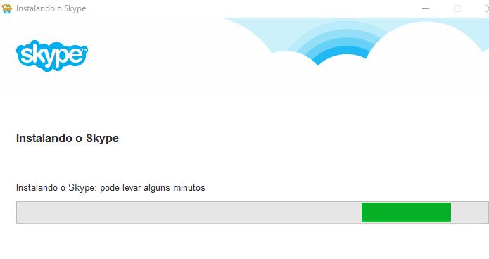 Aguardando o final da instalação do Skype (Foto: Reprodução/Edivaldo Brito)