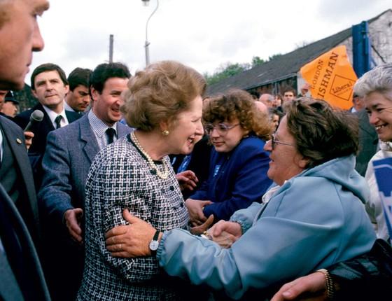 A ex-primeira ministra inglesa Margareth Thatcher.Ela fez o elogio do trabalho e da disciplina (Foto: David Levenson/Getty Images)