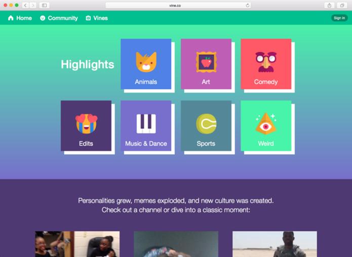 Site do Vine foi redesenhado para mostrar imagens de vídeos postados na rede social (Foto: Reprodução/Vine)