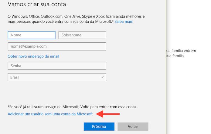 Acessando a página para adicionar um usuário ao Windows 10 que não tem uma conta da Microsoft (Foto: Reprodução/Marvin Costa)