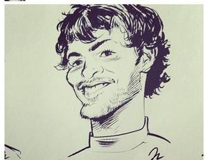 Surfista do Santos Alejo Muniz, caricatura (Foto: Reprodução  / Instagram)