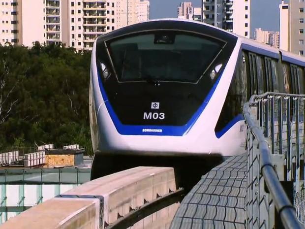 Monotrilho da Linha Prata atende a apenas 3 km (Foto: TV Globo/Reprodução)
