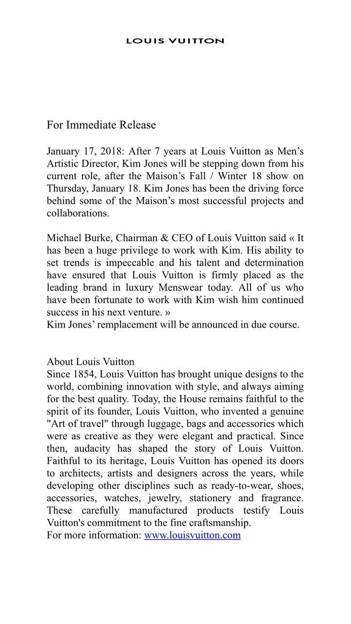 Pronunciamento oficial da LV sobre a saída de Kim Jones (Foto: divulgação)