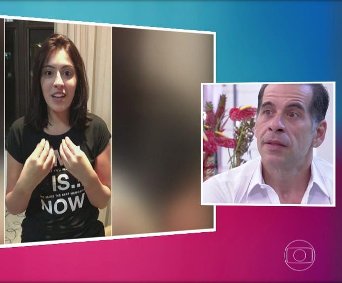 Leandro Hassum se emociona ao assistir recado da filha Pietra (Foto: TV Globo)