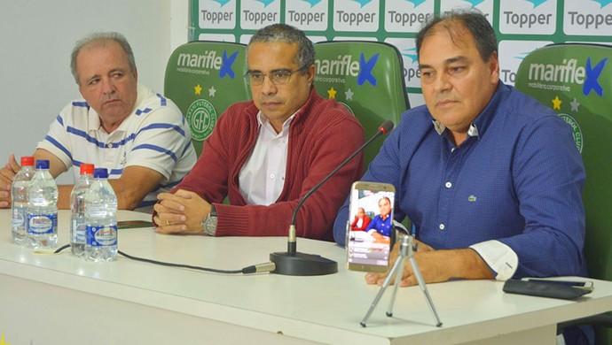 Vadão Treinador Palmeron Mendes Filho Presidente Nei Pandolfo Executivo de Futebol Guarani Bugre (Foto: Guarani Press / Divulgação)