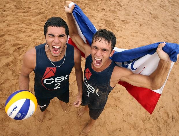 Meninos do CEL campeões no vôlei de praia das Olimpíadas Escolares  (Foto: Andre Mourao/AGIF/COB)