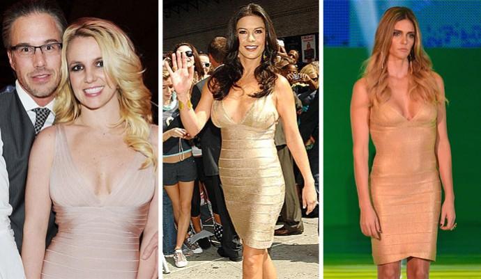 Vestido Britney, Catherine Zeta Jones e Fernanda Lima (Foto: Montagem sobre foto da AFP)