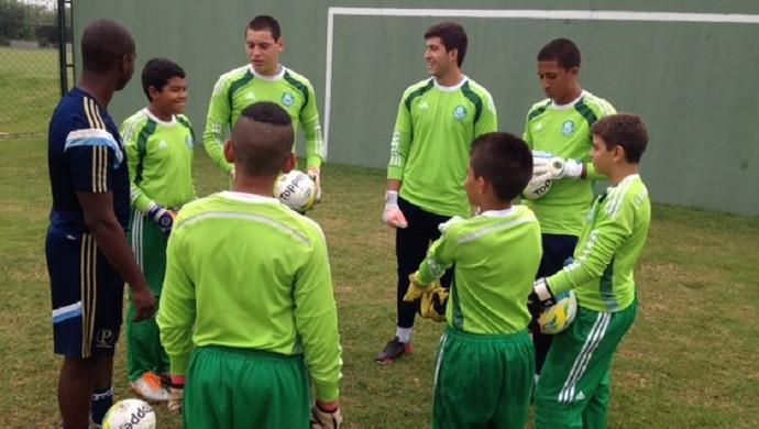 Jovens goleiros do Palmeiras trabalham na Academia de Futebol 2 (Foto: Divulgação)