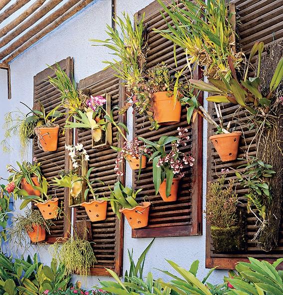 Depois de proteger a casa do sol por muitos anos, as venezianas de madeira sobraram na reforma. Transforme as folhas em painéis de parede para a coleção de orquídeas. Passe nelas uma demão de verniz para que aguentem mais as intempéries