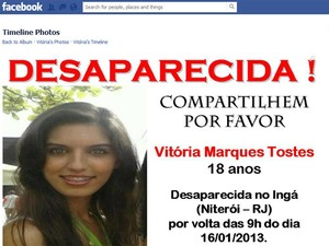 Parentes e amigos divulgaram foto da jovem Vitória Tostes nas redes sociais (Foto: Reprodução/ Facebook)