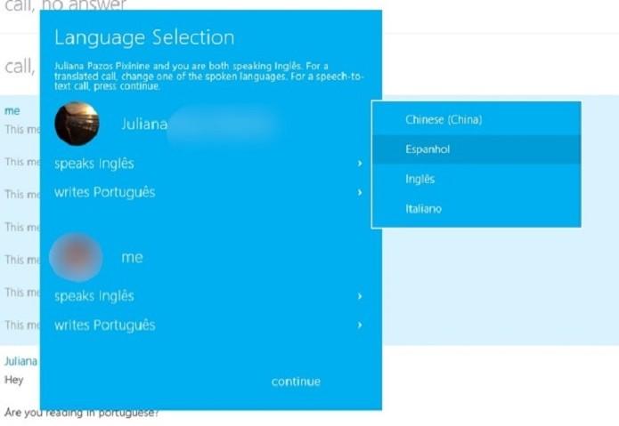Selecione o idioma do seu contato (Foto: Reprodução/Juliana Pixinine)