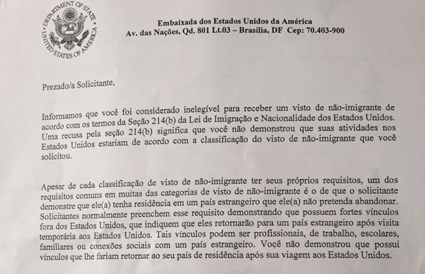 Documento da Embaixada dos EUA em Brasília mostra negativa de visto por 'falta de vínculos' com o Brasil (Foto: Arquivo pessoal)