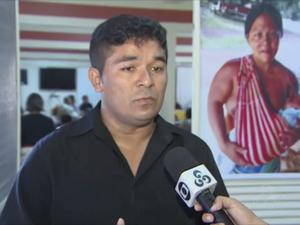 Presidente do Sindicato dos Profissionais de Saúde Indígena, Alisson Cardoso (Foto: Reprodução/Rede Amazônica no AP)