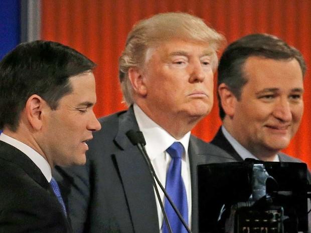 Marco Rubio, Donald Trump e Ted Cruz, em debate republicano em Detroit (Foto: Jim Young / Reuters)