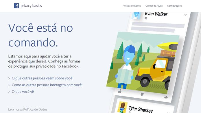 Página do Facebook ensina os básicos sobre privacidade (foto: Reprodução/Facebook)